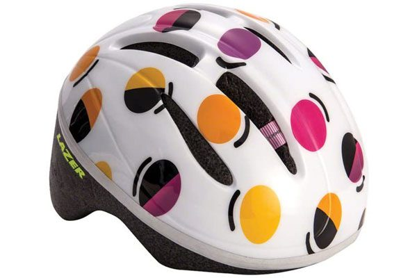 stock image of a white lazer bob kids bike helmet with dots