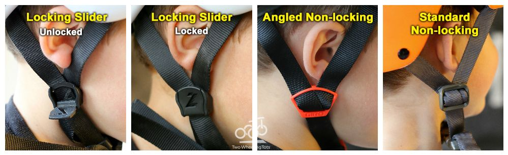 Collage showing slider adjustment on helmet straps. Locking sliders (unlocked and locked), Angled Non-locking, and standard non-locking
