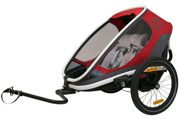 Hamax Outback bike trailer in red with tow arm