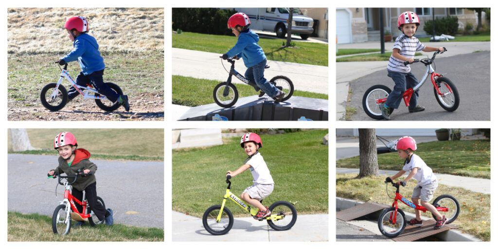 collage of a 5 year old riding different balance bikes
