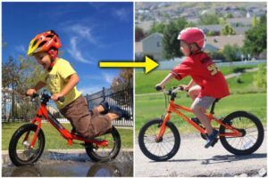 collage of a child riding a balance bike and then a pedal bike