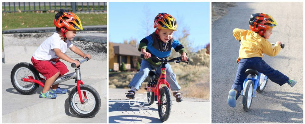 collage of a toddler riding a balance bike