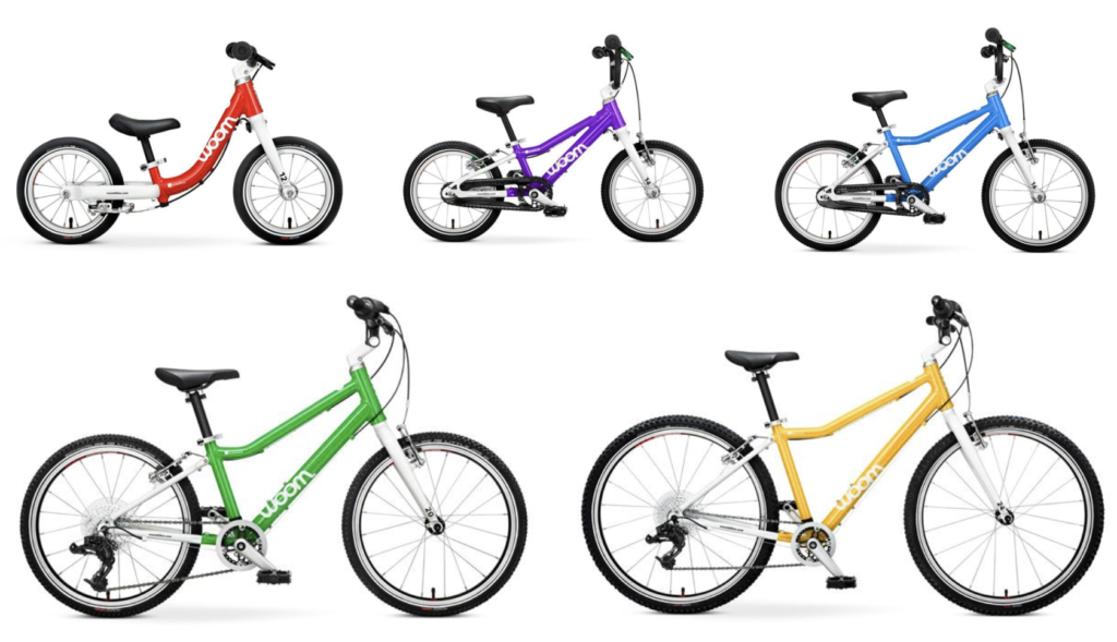 woom bikes color options, red, purple, blue, green and yello