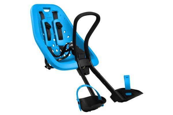 stock image of a blue thule yepp mini front-mounted child bike seat