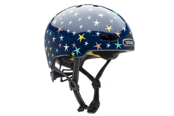 stock image of a blue kids little nutty bike helmet with stars