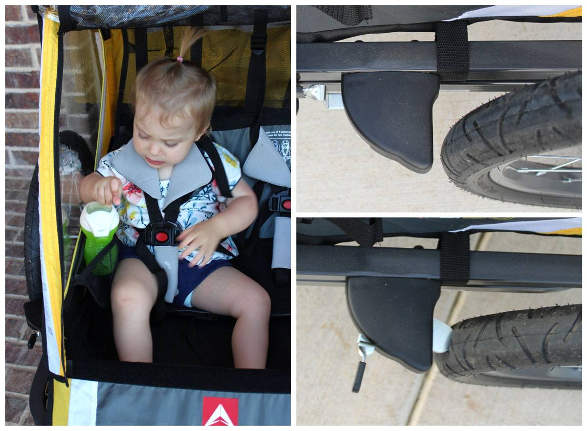 Allen S2 Trailer mesh cup holder is easy for toddlers to access. Parking brake consists of a rounded metal tab that presses against the tire