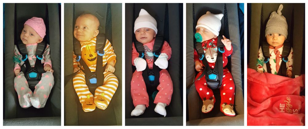 Collage of baby girl in the Thule Infant Sling