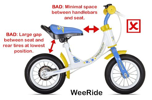 Diagram showing poor geometry of a cheap balance bike