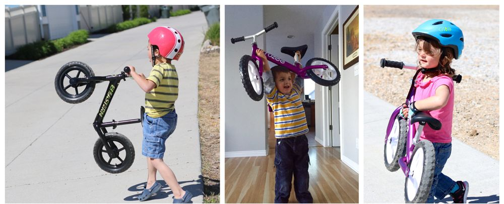 Kids lifting and carrying their lightweight balance bikes with ease.