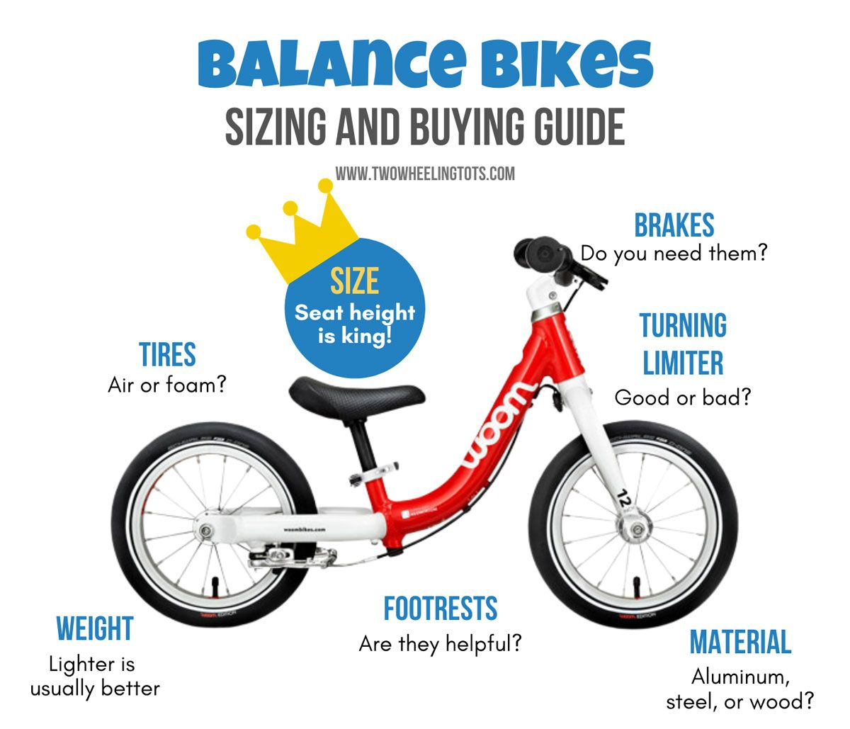 Balance bike sizing and buying guide graphic showing the different features of balance bikes