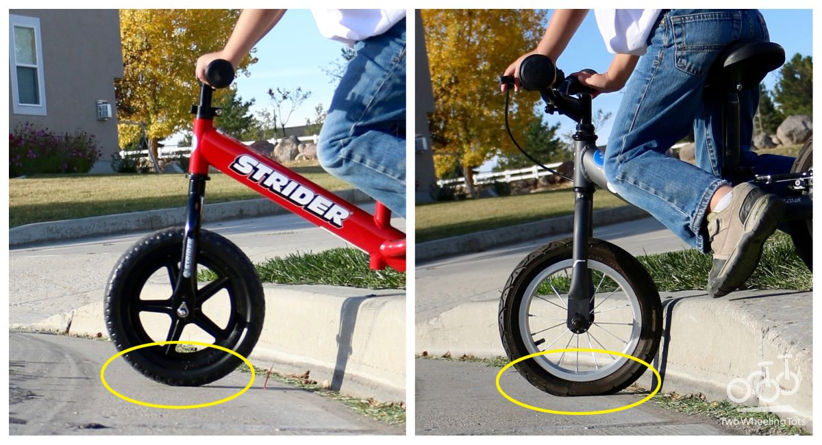 Side by side comparison of a Strider foam tire and an air tire going off the curb. The air tire compresses, while the foam tire does not.