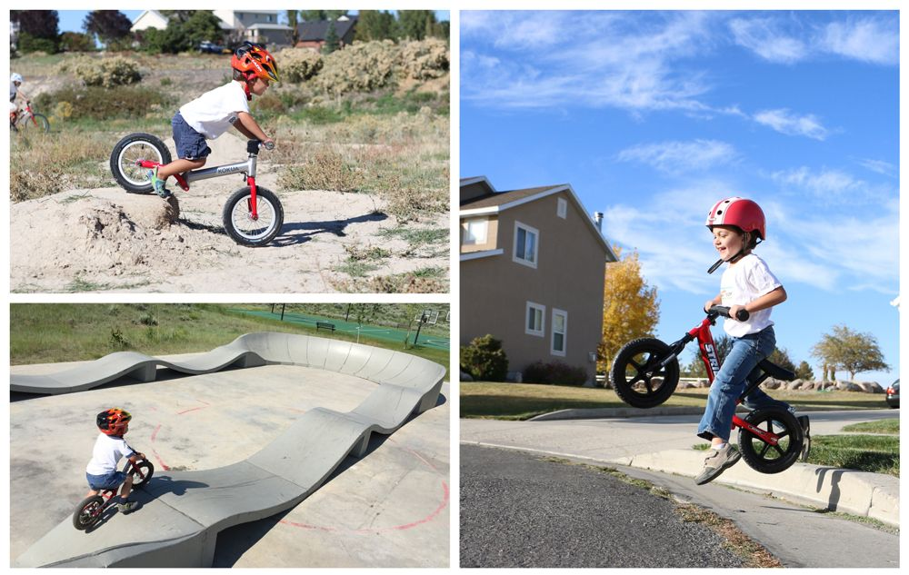 3-year-old boy exploring various terrain on a balance bike - dirt mound, pump track, and jumping off a curb.