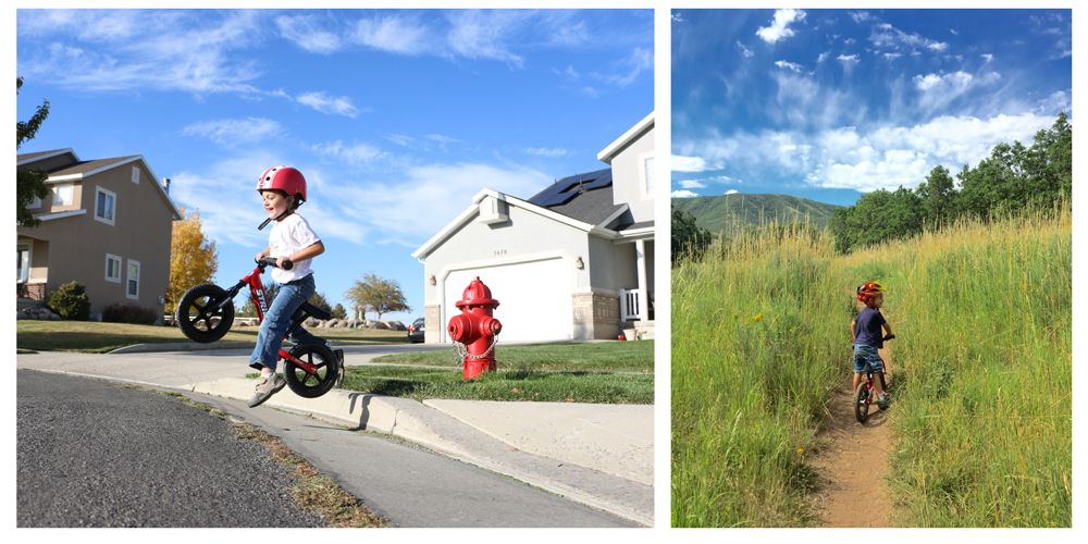 young toddler boy jumping of a curb on a balance bike and riding a dirt path in the mountains.