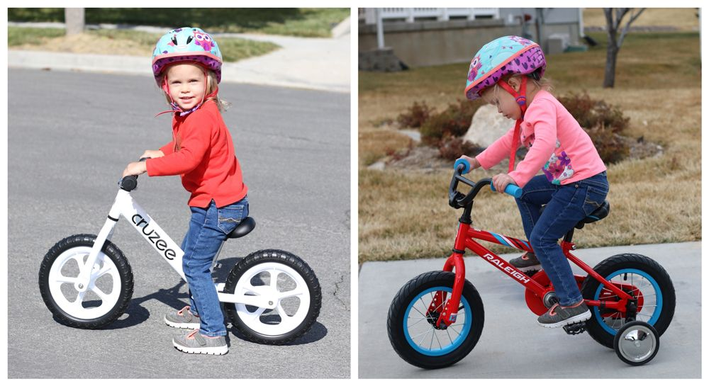 "3 year old girl on a Cruzee balance bike. Same girl on the MXR 12"" kid's bike with training wheels. She fits nicely on the balance bike but is perched on top of the pedal bike."