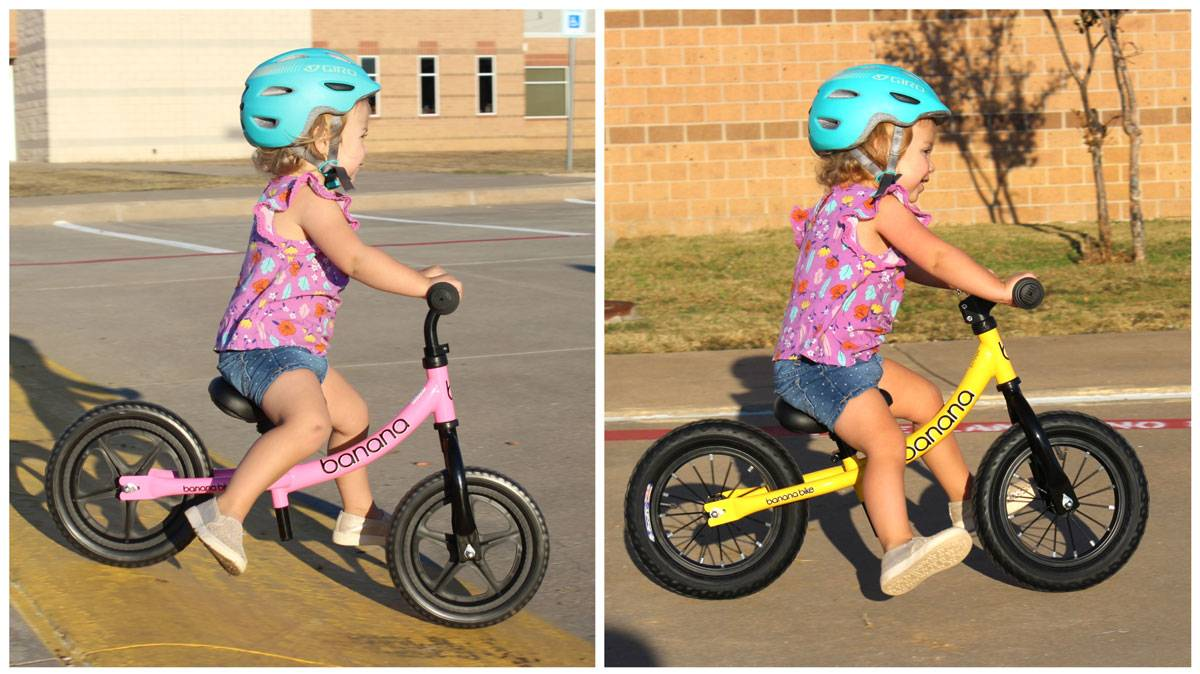 Side by side comparison of a young girl riding banana bike LT vs GT balance bikes