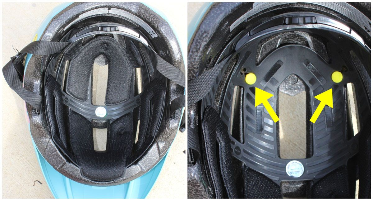 MIPS anchors are covered by internal pads in Bell Sidetrack 2 kid's bike helmet.
