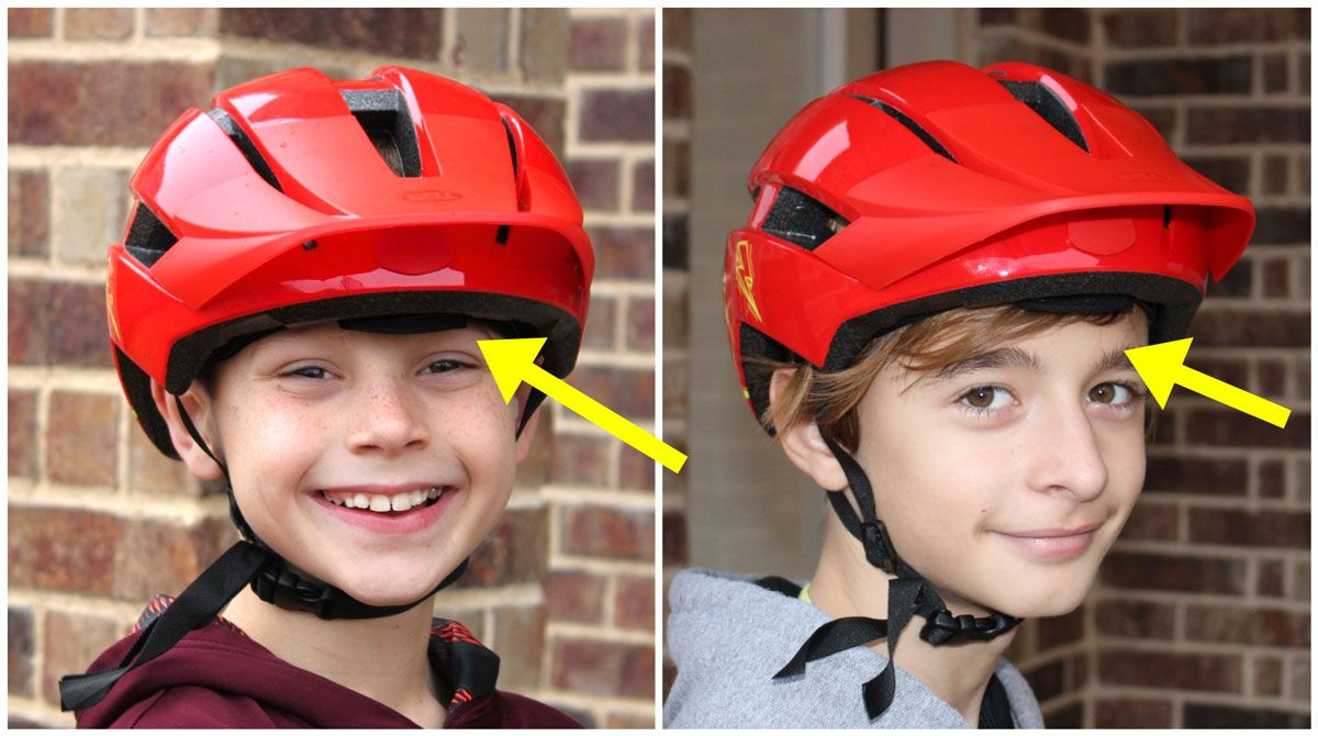 Side by side comparison of 9 year old and 12 year old wearing the Bell Sidetrack 2 bike helmet. The helmet comes too low on the 9 year old.