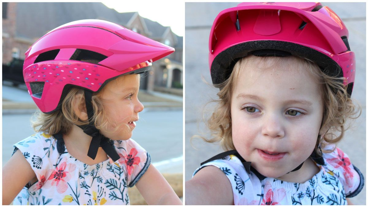 Bell Sidetrack 2 kid's helmet shifted up and out of place on a toddler after riding for a short period.