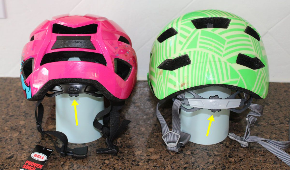 Side by side comparison of the new Bell Sidetrack 2 helmet and the original Sidetrack. The dial adjust knob on the original comes down much lower.