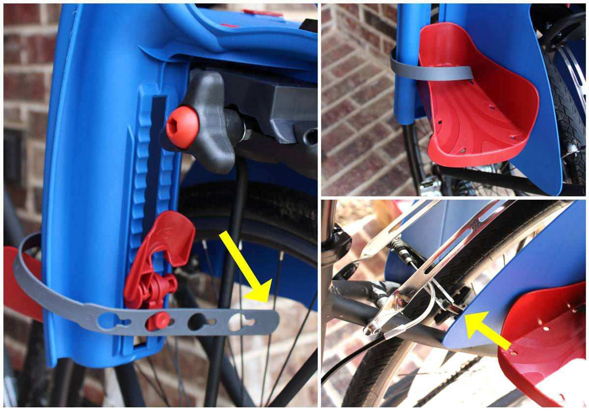 Bellelli Pepe child bike seat footrest and leg shield. The footrest strap is in the spoke. The shield is resting against the bike's brake levers.