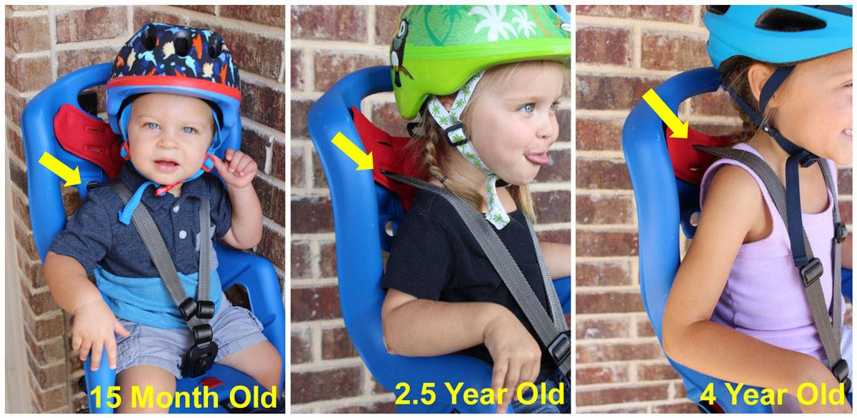 15 month old, 2.5 year old, and 4 year old each sitting in the Bellelli Pepe child bike seat with the shoulder strap adjusted to a different height.
