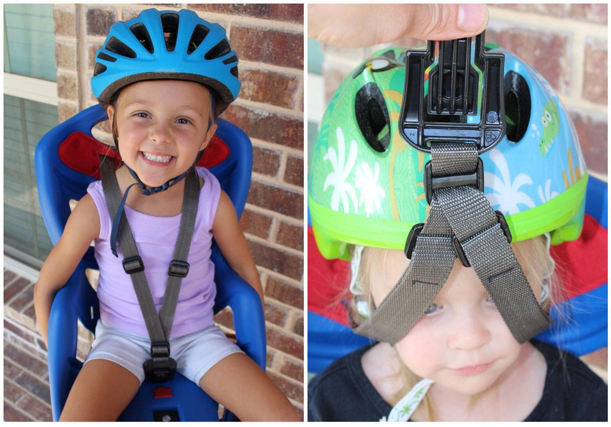 Shoulder straps on the Bellelli Pepe child bike seat. Can be difficult to pull over a helmet.