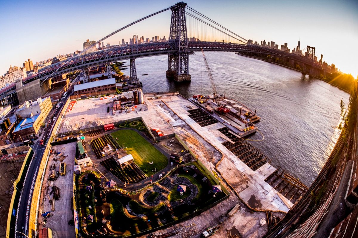 Arial shot of Brooklyn Pump Track with Brooklyn Bridge in the background