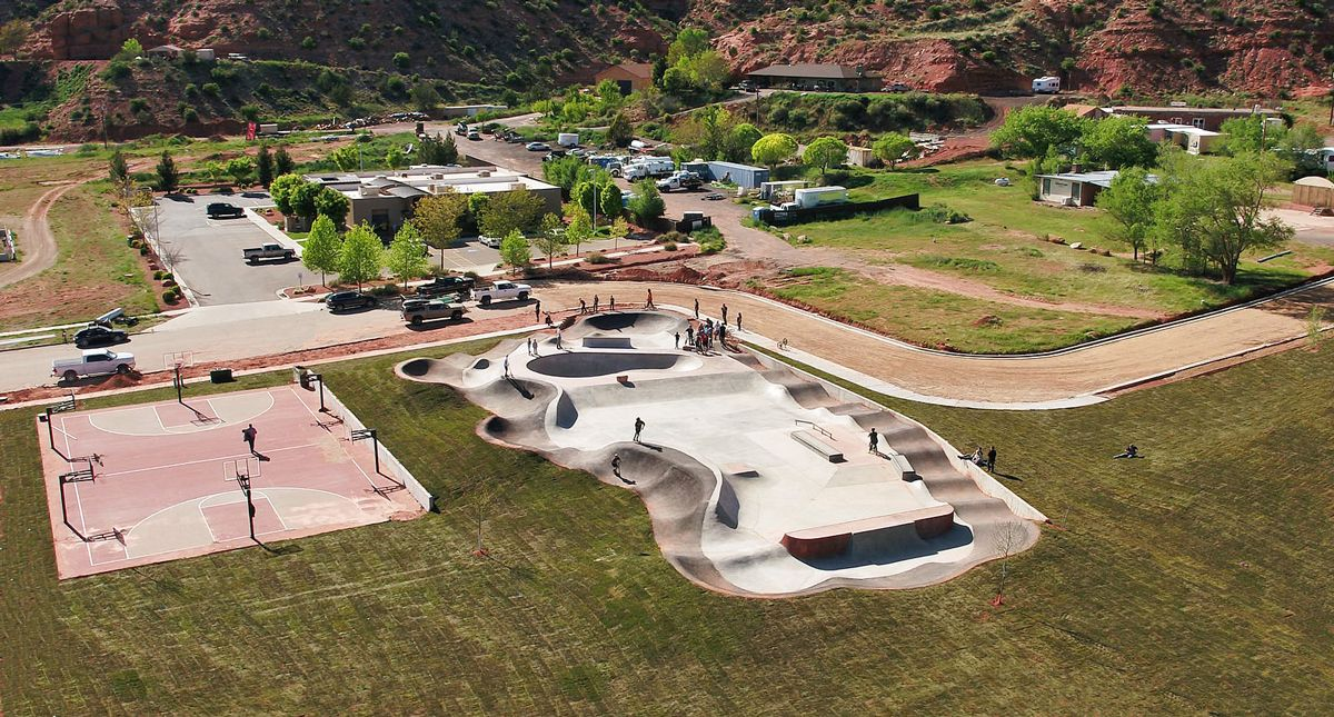 Arial view of Kanab Bike Park and Skate Park