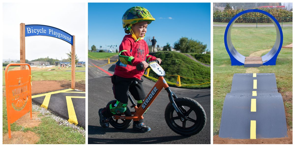 Two features of the Child Bicycle Playground at Runway Bike Park and a child riding a balance bike on the pump track