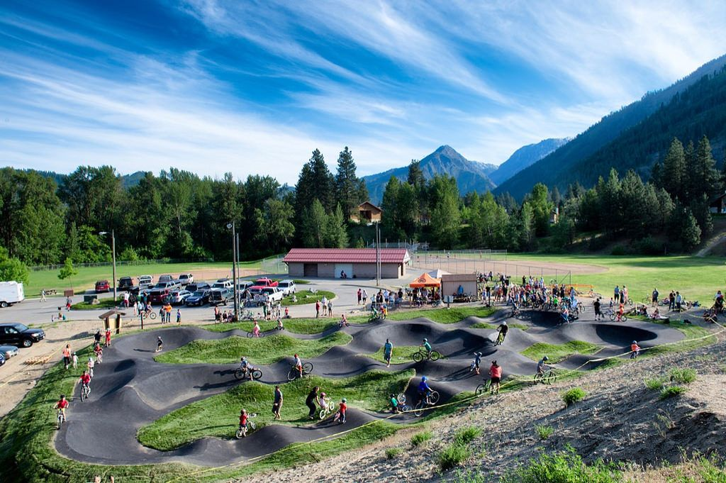 Leavenworth, WA pump track with gorgeous mountains in the background