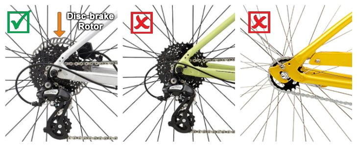 Collage showing how to identify if your bike has disc brakes