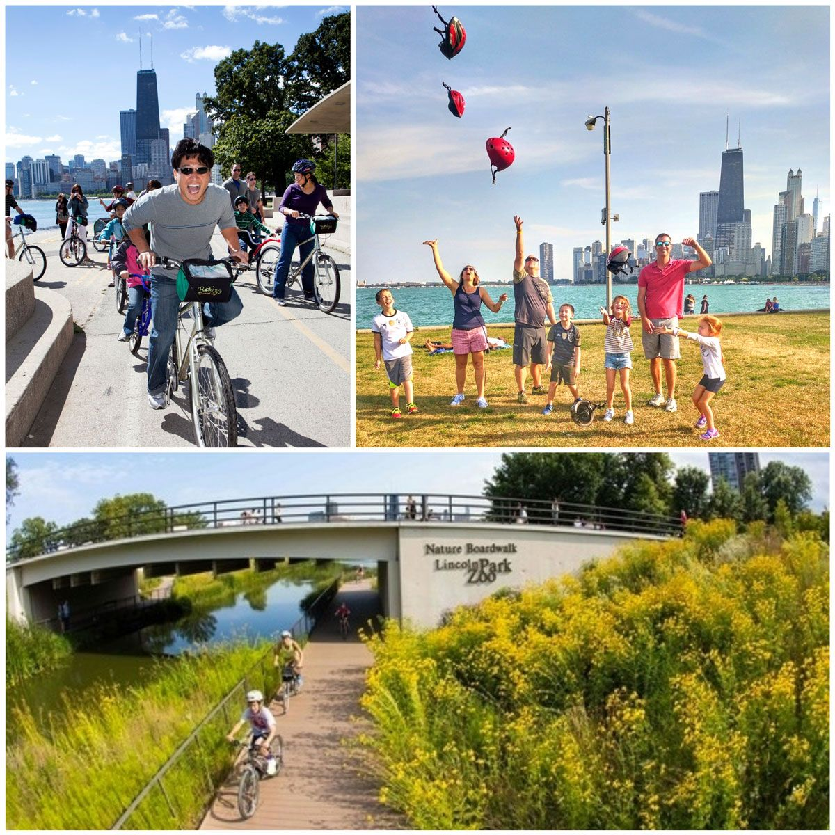 Bobby's Tike Hike Bike Tour in Chicago. Family riding along lakeside trail with Chicago skyline in the background, kids riding on trail in Lincoln Park