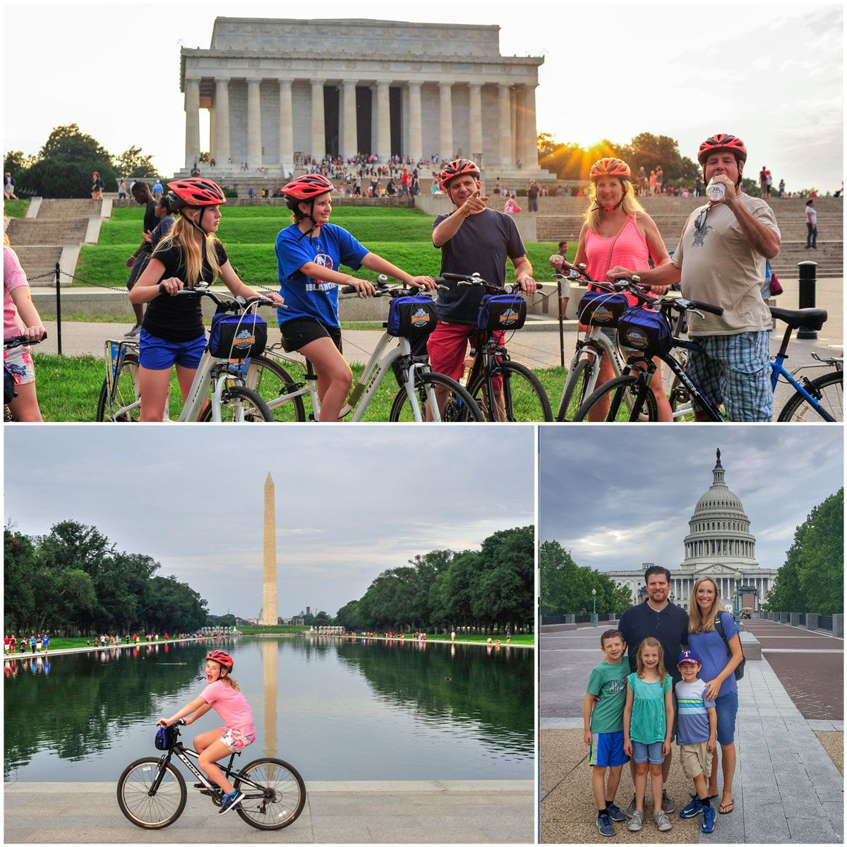 Family taking a bike tour through DC, in front of Washington National Monument, the Lincoln Memorial and the Capitol Building