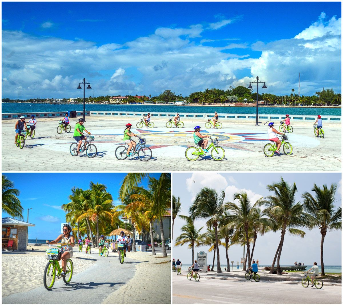 Key Lime Bike Tours in Key West - people riding lime green bikes down the strand and on the pier