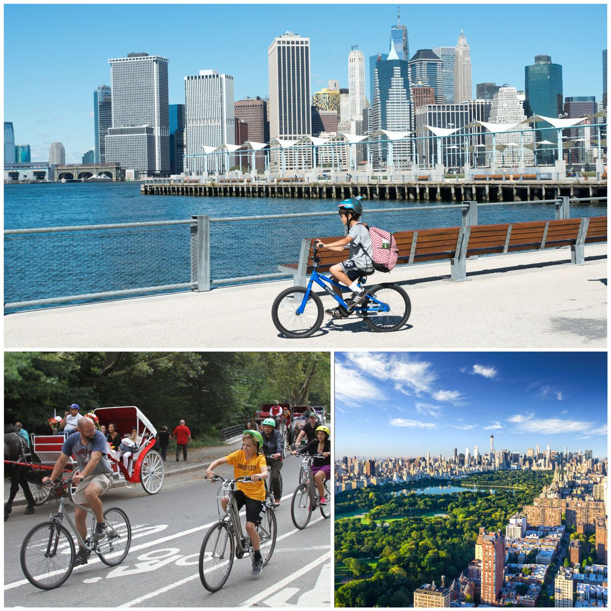 Bike tour of New York City in Central Park and on Brooklyn Water Front with downtown Manhattan skyline