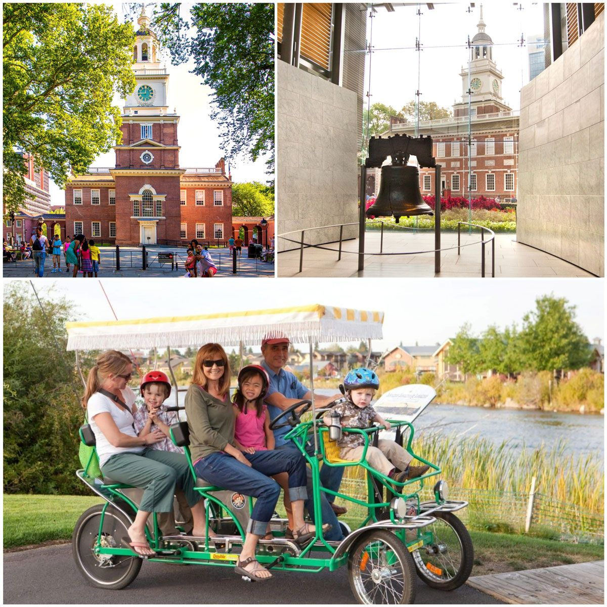 Liberty Hall in Philadelphia, the Liberty Bell, and Family on a Pedal Tour of Philly