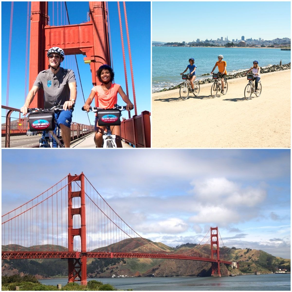 Bike Tour in San Francisco - dad and daughter riding on bike path on the Golden Gate Bridge, family riding on dirt path along the water