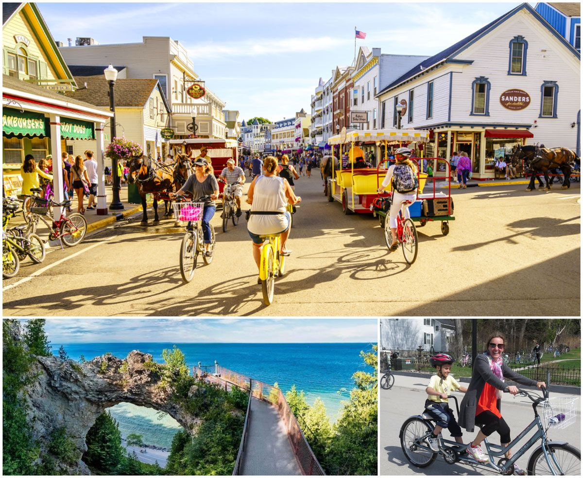 Mackinac island main street and view of lake from bridge. Woman riding a bicycle with her son on a bike tour.