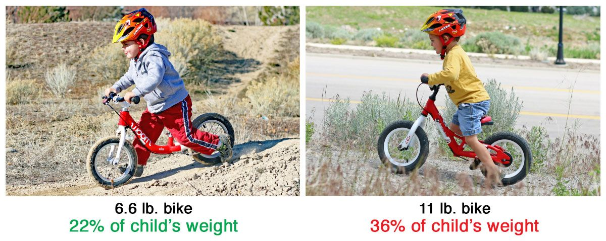 Child riding two balance bikes. One is only 6.6 lbs and is 22% of his weight. The other is 11 lbs and is 36% of his weight