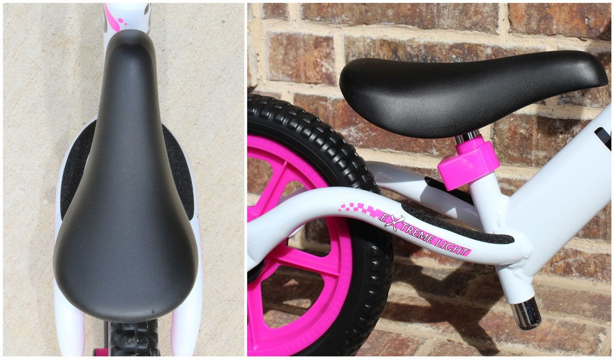 overhead and side shot of footrest on Bixe balance bike, showing that it's tucked away so it doesn't interfere with a child's stride