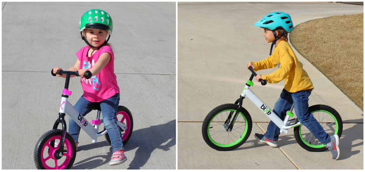 Girl riding Bixe 12 balance bike, boy riding Bixe 16 balance bike