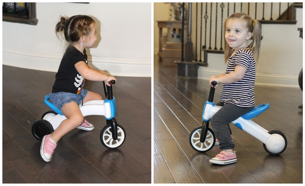 2.5-year-old girl riding on Chillafish Bunzi in ride-on toy mode, and then in balance bike mode.