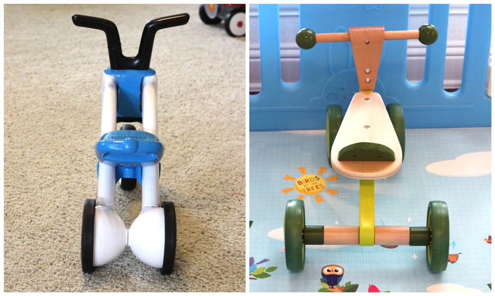 Comparison of Bunzi's narrow-set rear wheels and the Hape Scoot Around's wide-set rear wheels.