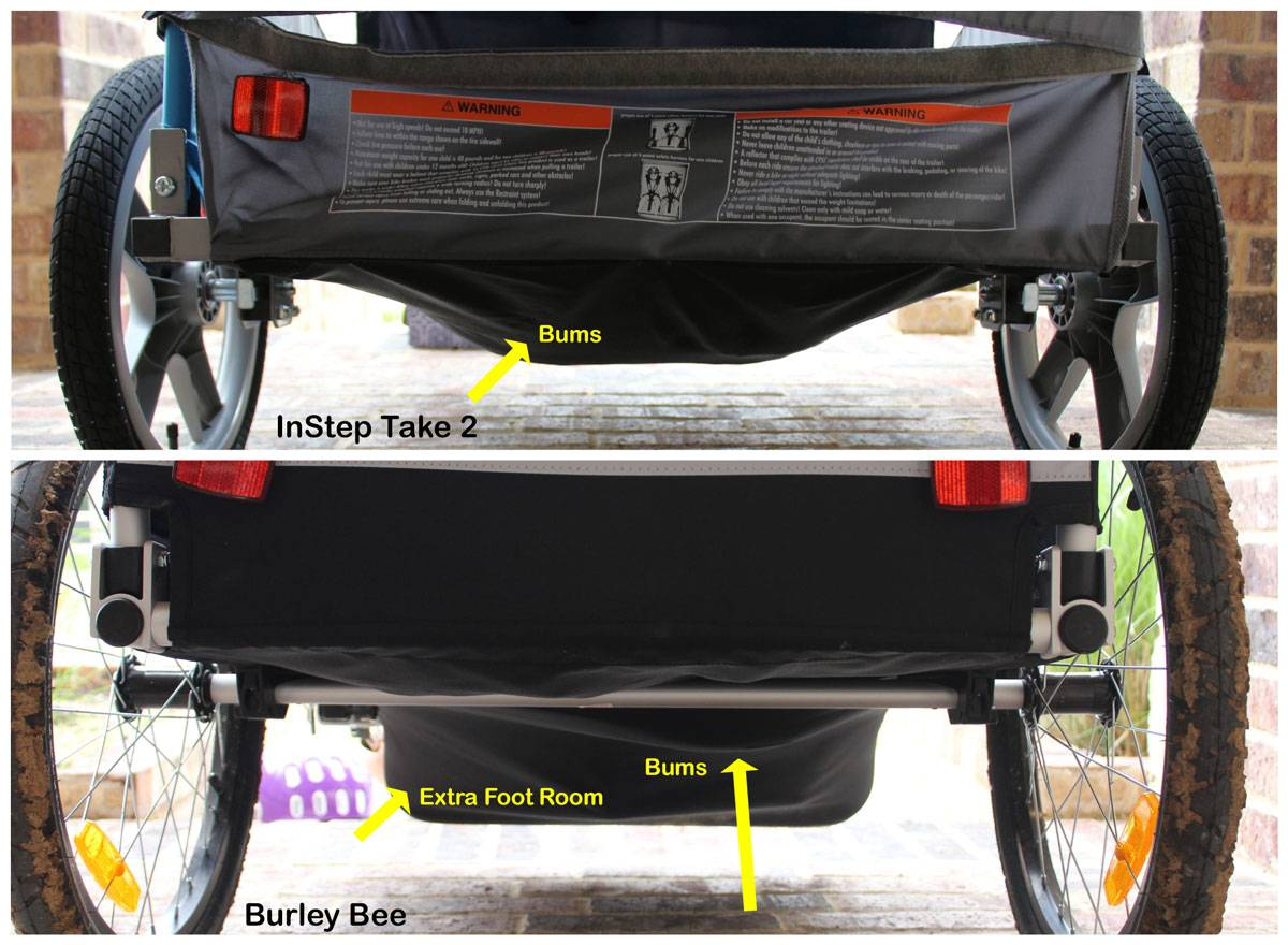 Kids' bums sag drastically beneath the InStep Take 2 trailer, but only slightly under the Burley Bee.