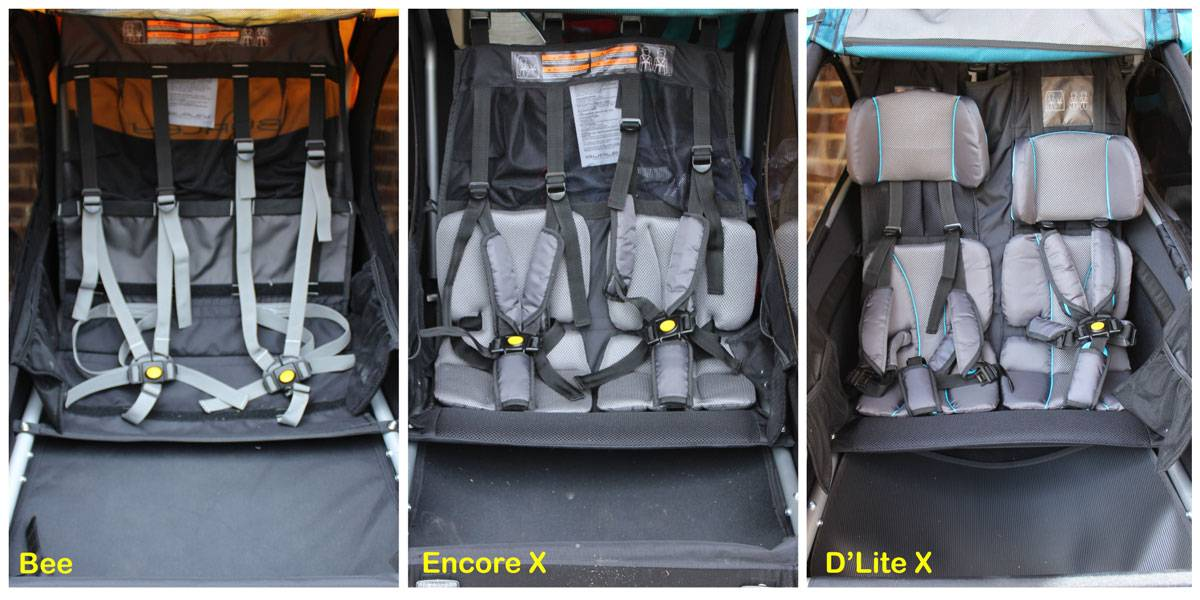 Side by side comparison of seats on Burley Bee, Encore X, and D'Lite X bike trailers