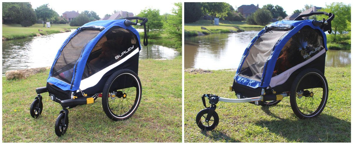 Side by side comparison of the Burley D'Lite in 2-wheel stroller mode and single-wheel stroller mode