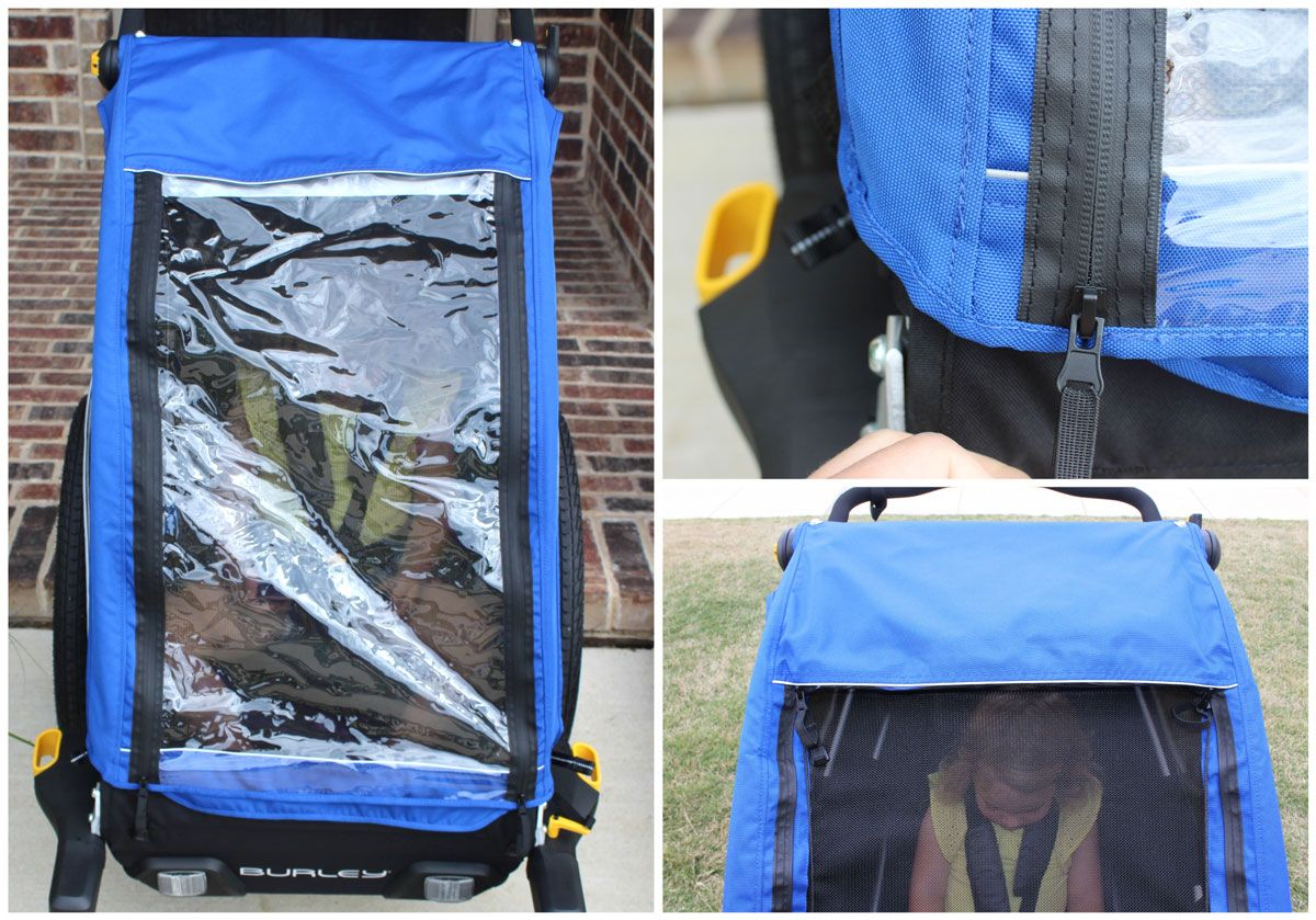 Rain cover and water proof zipper on the Burley D'Lite bike trailer
