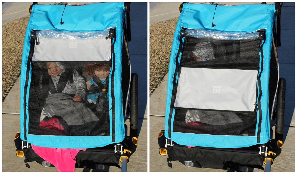 Sunshade on D'Lite X can be moved up or down in position to accommodate the moving sun.