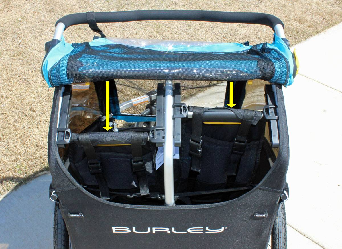 Rear view of the Burley D'Lite X, showing the two seats independently reclining