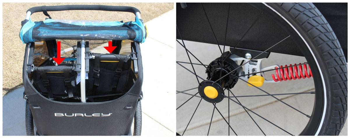 Independent Recline and suspension on Burley D'Lite X bike trailer